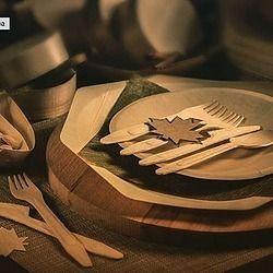 Young Catering Одноразовая деревянная эко тарелка и комплект приборов