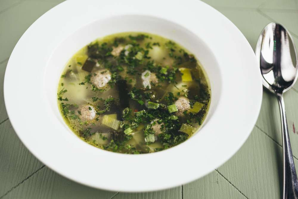 Хачапури Суп из лука-порея с фрикадельками