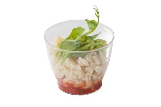 Арт Нуво Кейтеринг Булугур с томатной сальсой и кремом из зеленого горошка